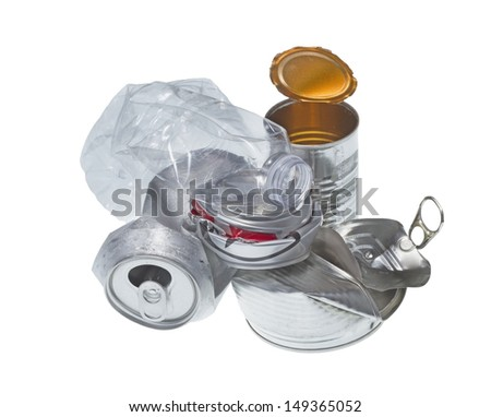 Recyclable garbage isolated on white background. - stock photo