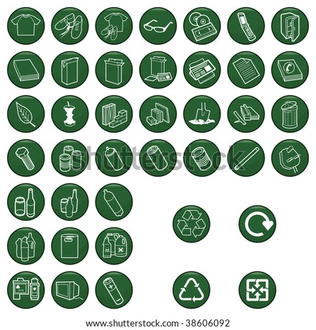 Recyclable material icon set each individually layered - stock photo
