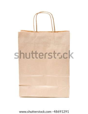 recyclable; reusable brown paper shopping carrier bag
