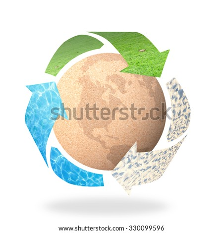Recycle arrow symbol made of grass, water and sand texture protecting brown earth globe of paper on white background. Recycle icon: Saving world environmental concept. Ecology, Biology concept. - stock photo