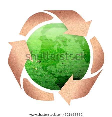 Nature Green Globe With Recycle Arrow Symbol Stock Vector