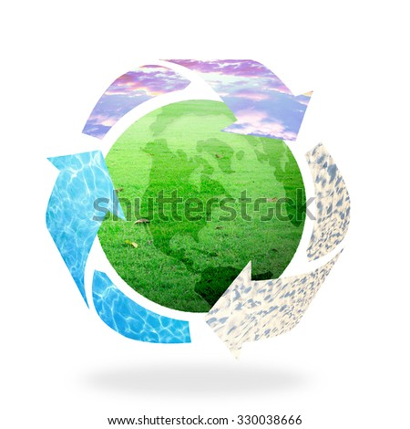 Recycle arrow symbol made of sunset sky, water and sand texture protecting green earth globe of grass on white background. Recycle icon: Saving world environmental concept. Ecology, Biology concept. - stock photo