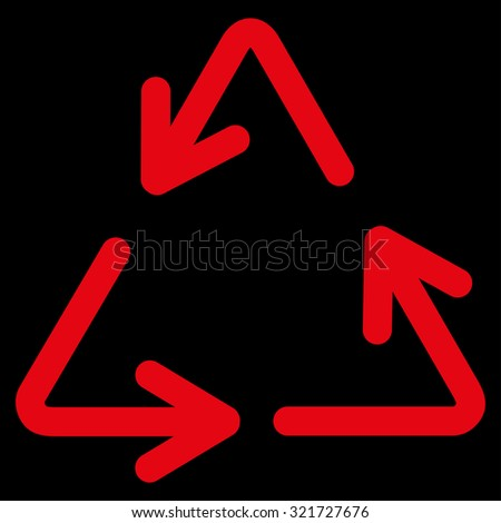 Recycle Arrows raster icon. Style is flat symbol, red color, rounded angles, black background. - stock photo