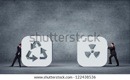 Recycle Arrows. Recycle symbol illustration on grey background - stock photo