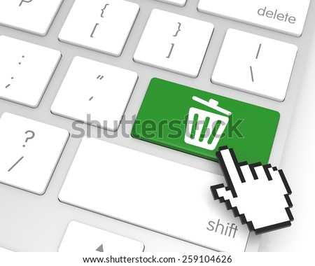 Recycle bin enter key with hand cursor. 3D rendering - stock photo