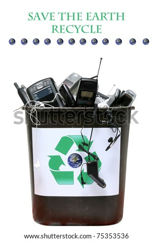 "recycle bin filled with old ""e-waste"" for recycling of out dated computers, cell phones and related items,  isolated on white with room for your text"