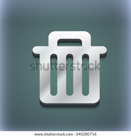 Recycle bin icon symbol. 3D style. Trendy, modern design with space for your text illustration. Raster version - stock photo