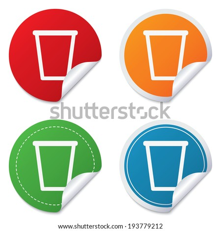Recycle bin sign icon. Bin symbol. Round stickers. Circle labels with shadows. Curved corner.