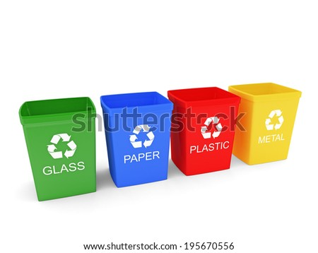Recycle bins - stock photo