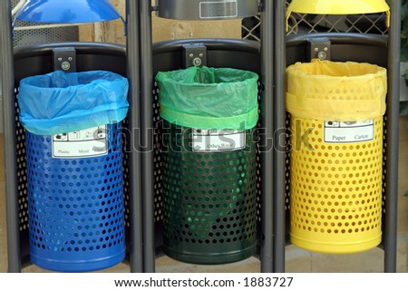 Recycle bins for paper,glass,metal,plastic - stock photo