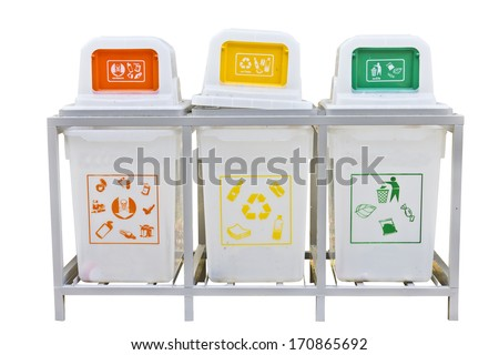 Recycle bins for three types of garbage isolated on a white background. - stock photo
