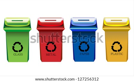 Recycle Bins Isolated - stock photo