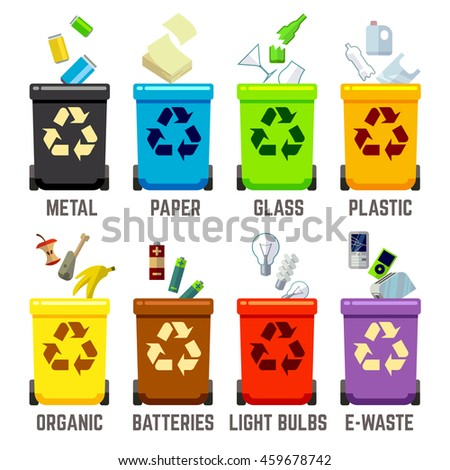 Recycle bins with different waste types