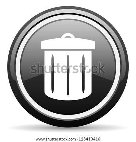 recycle black glossy icon on white background - stock photo