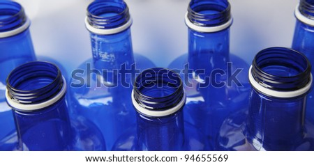 Recycle Blue Water Bottles Close Up