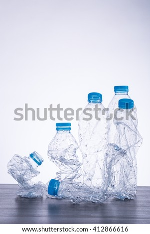 Recycle bottles used plastic can recyclable waste. - stock photo