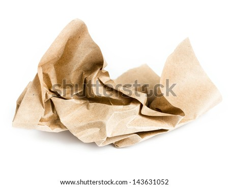 Recycle brown crumpled paper on white background - stock photo