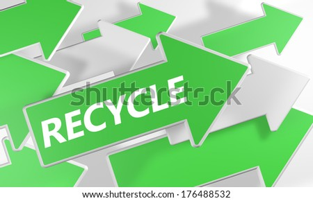 Recycle 3d render concept with green and white arrows flying upwards over a white background. - stock photo