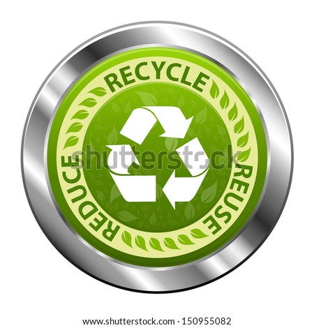 Recycle emblem or symbol with text recycle, reuse, reduce green metal icon isolated on white background - stock photo
