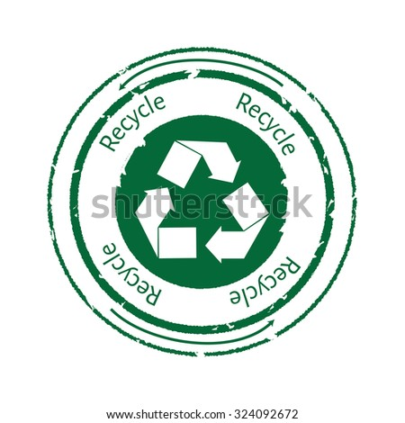 Recycle emblem, symbol or stamp with text recycle. Recycle icon. Green rubber stamp recycle - stock photo