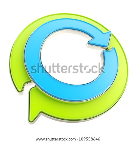 Recycle glossy icon emblem as two green and blue circle round arrows isolated on white - stock photo
