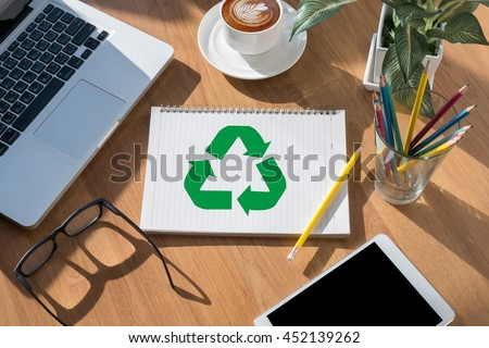 Recycle Green bio eco forest saving environment harmony ecosystem conservation csr esg campaign open book on table and coffee Business - stock photo