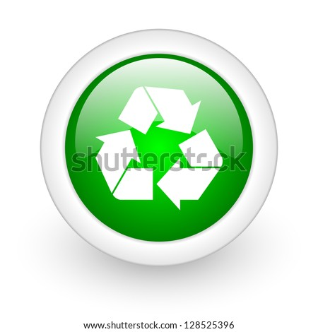 recycle green circle glossy web icon on white background - stock photo