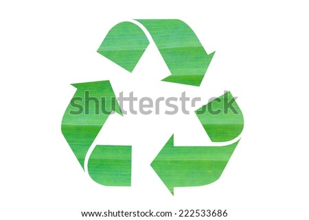 recycle icon made of banana leaf isolated on white background - stock photo