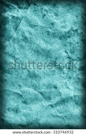 Recycle Kraft Paper, Coarse Grain, Crumpled, Blotted, Mottled, Stained Cyan, Vignette, Grunge Texture Sample.