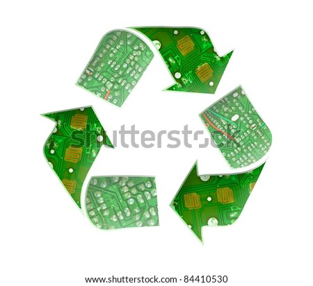 Recycle logo, Electronic waste concept
