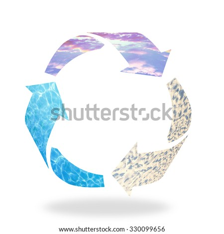 Recycle logo isolated made of sunset sky, water and sand texture. Recycle icon: Saving world environmental concept. Ecology, Biology concept. - stock photo
