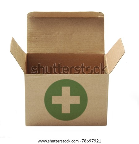 recycle paper box with green cross sign isolated on white background - stock photo