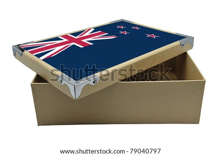Recycle paper box with New Zealand flag isolated on white - stock photo