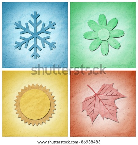 Recycle Paper craft , Four seasons elements - stock photo