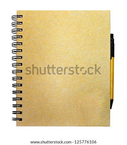 recycle paper notebook and pen