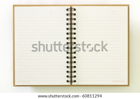 Recycle paper notebook open two pages on white background - stock photo