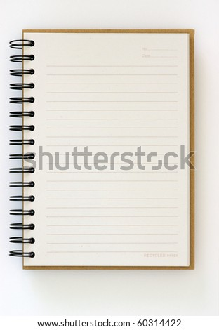 Recycle paper opened notebook on white background