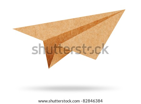 Recycle paper plane on white background - stock photo