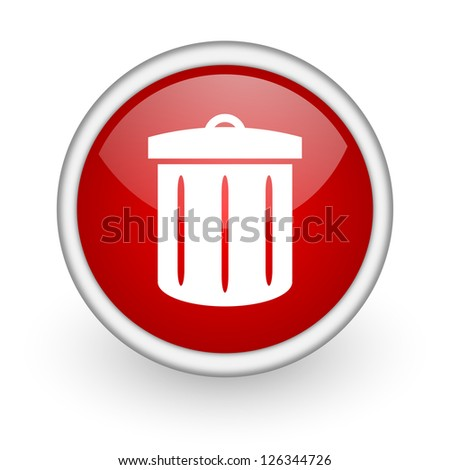 recycle red circle web icon on white background - stock photo