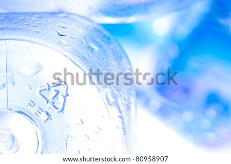 recycle sign in drinking water bottle - stock photo
