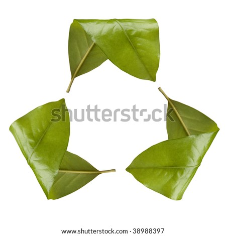 Recycle Sign made with Leaves - stock photo