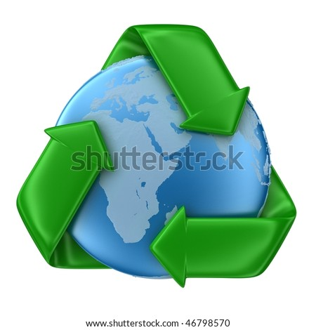 Recycle sign with Earth isolated on white - stock photo