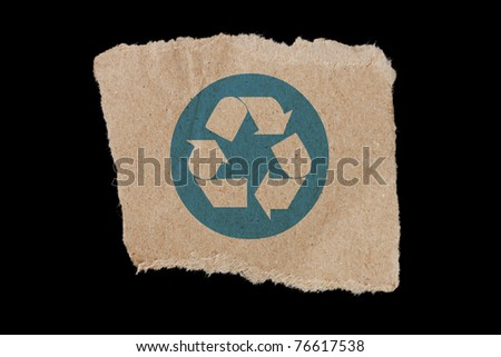 Recycle symbol, A recycle symbol on a brown paper.