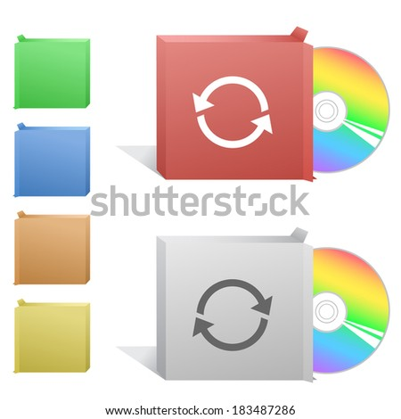 Recycle symbol. Box with compact disc. Raster illustration. Vector version is in my portfolio. - stock photo