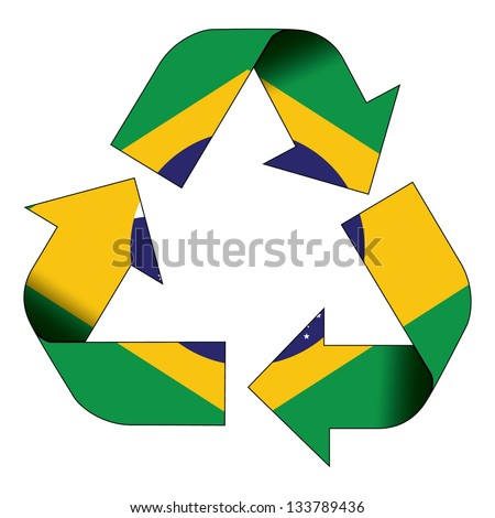 Recycle symbol flag of Brazil - stock photo