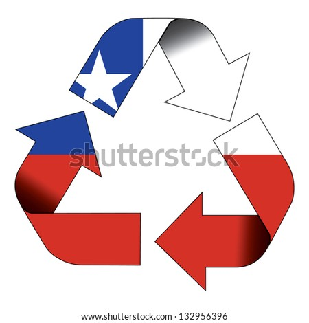 Recycle symbol flag of Chile - stock photo