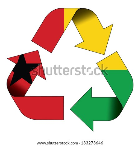 Recycle symbol flag of Guinea Bissau - stock photo