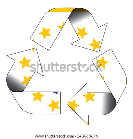 Recycle symbol flag of Rhode Island - stock photo