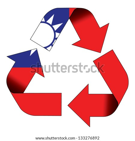 Recycle symbol flag of Taiwan - stock photo