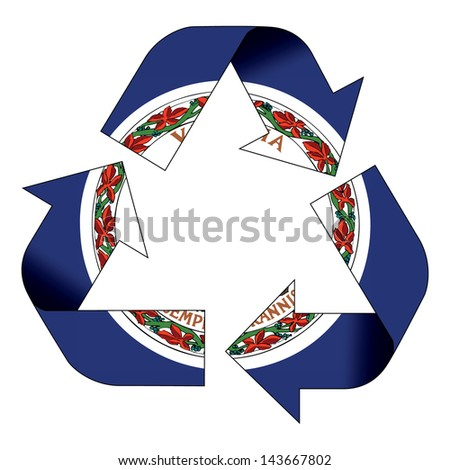 Recycle symbol flag of Virginia - stock photo
